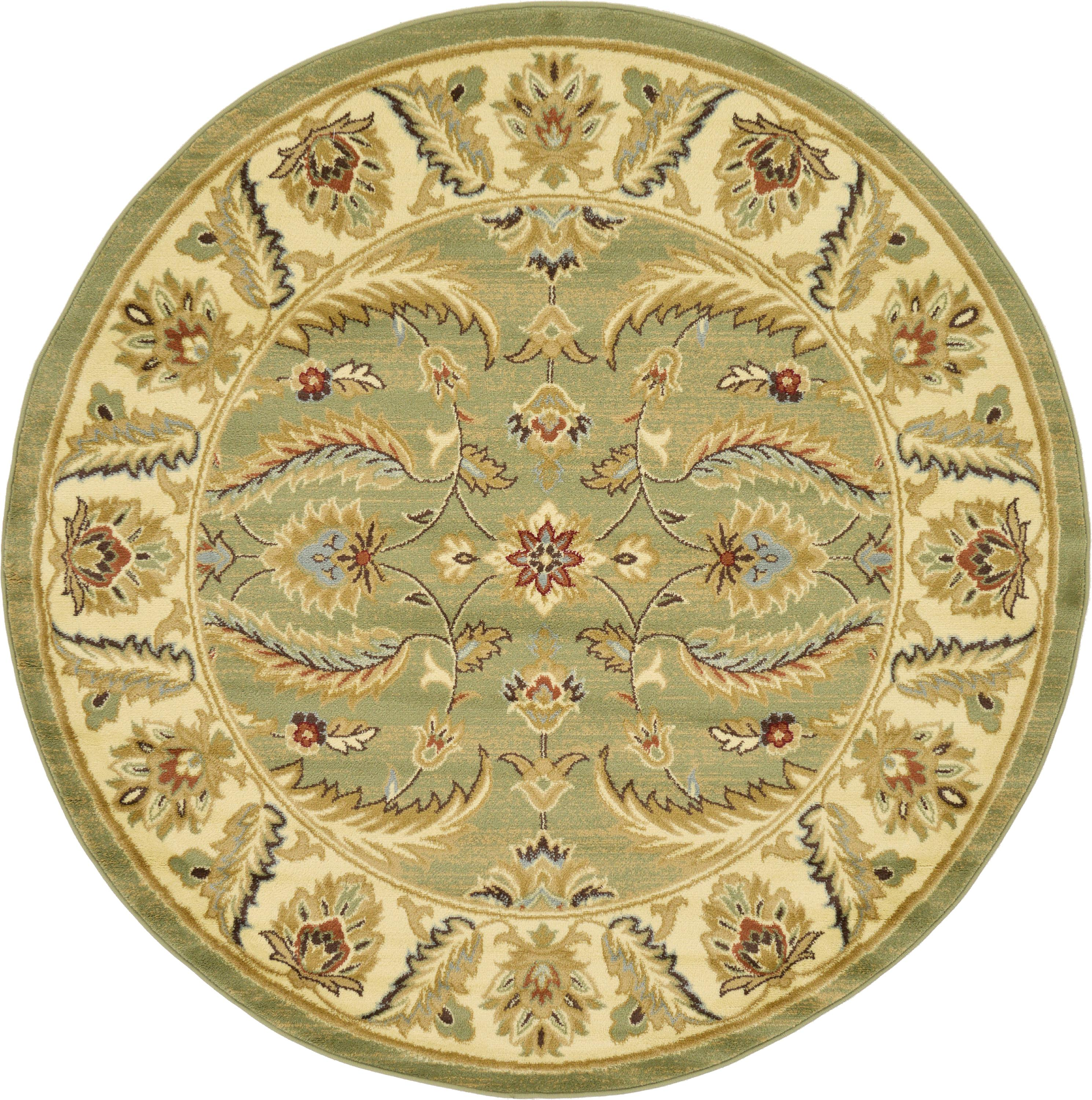 Green 6' X 6' Classic Agra Round Rug