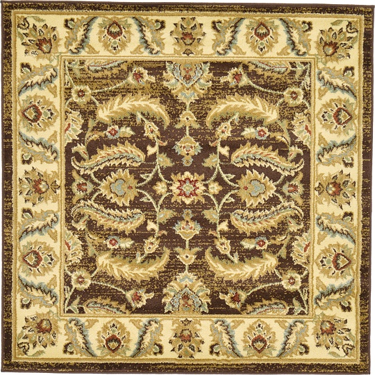 Brown 4' X 4' Classic Agra Square Rug