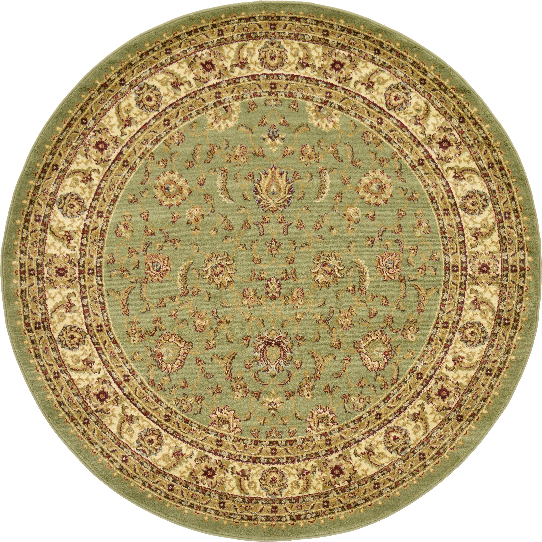 Green 6' X 6' Classic Agra Round Rug