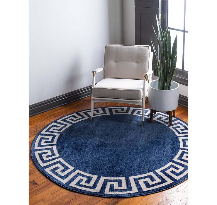 6' x 6' Greek Key Round Rug
