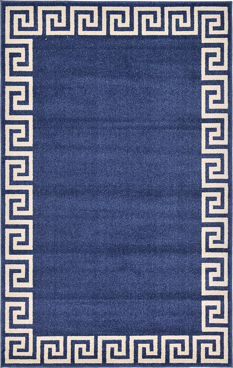Navy Blue 5 X 8 Greek Key Rug Area Rugs Esalerugs