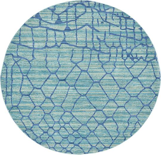 Light Blue 6' X 6' Aqua Round Rug