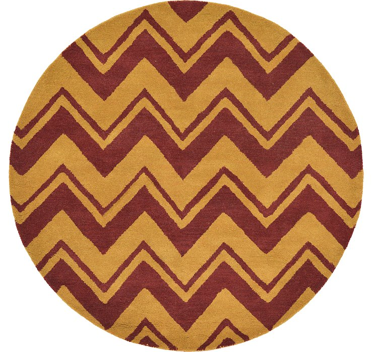 Gold Chevron Round Rug