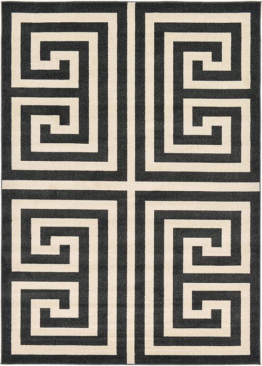 Black 7 X 10 Greek Key Rug Area Rugs Esalerugs