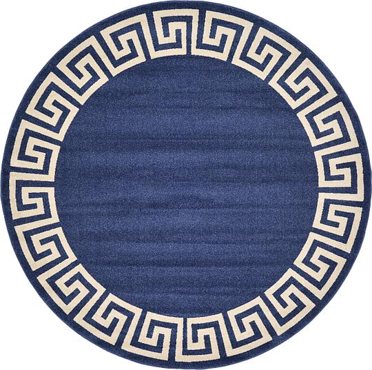 navy blue ' x ' greek key round rug  area rugs  esalerugs, navy blue round bathroom rug, navy blue round rug, round navy blue bath rug