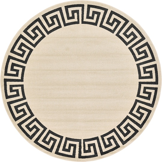 Beige 245cm X 245cm Greek Key Round Rug Area Rugs Au Rugs