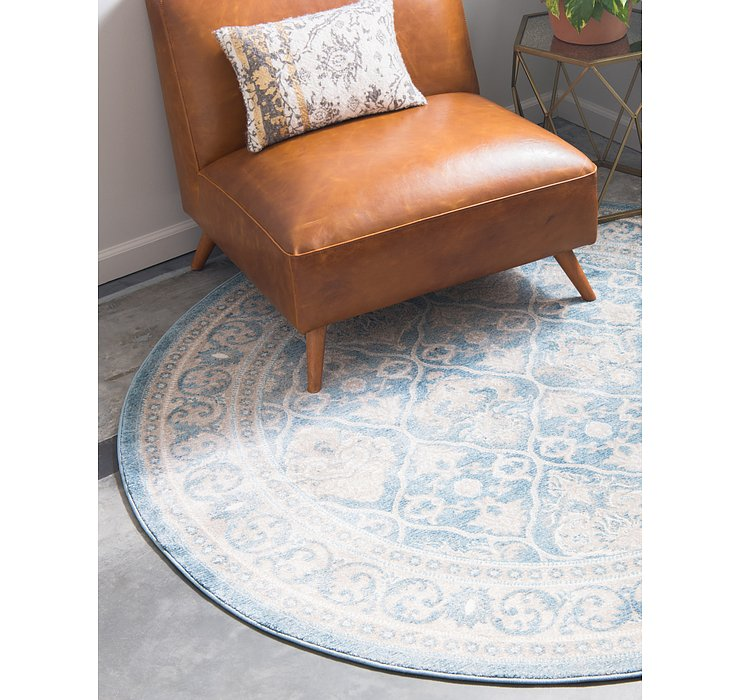 Light Blue Viola Round Rug