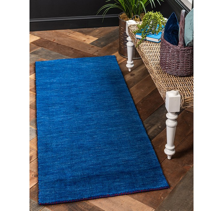 Blue Solid Gabbeh Runner Rug