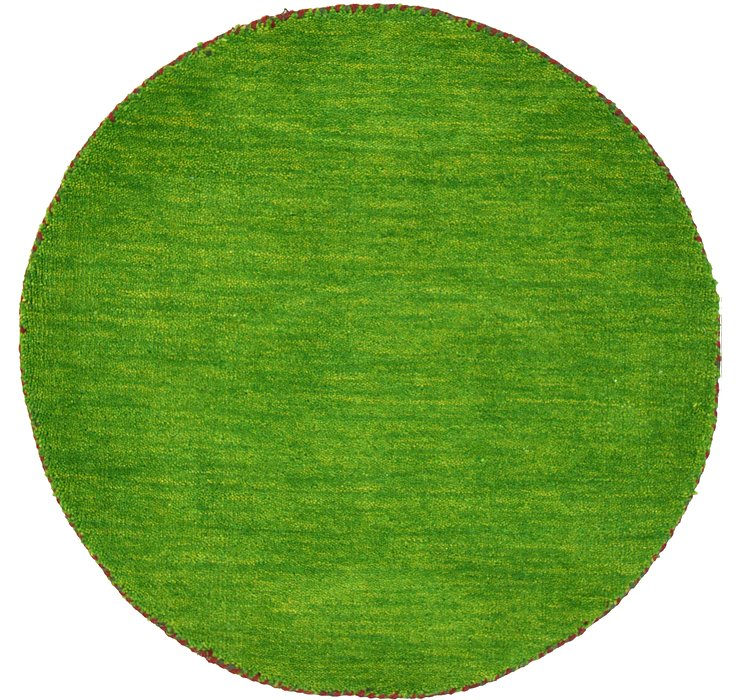 Light Green Solid Gabbeh Round Rug