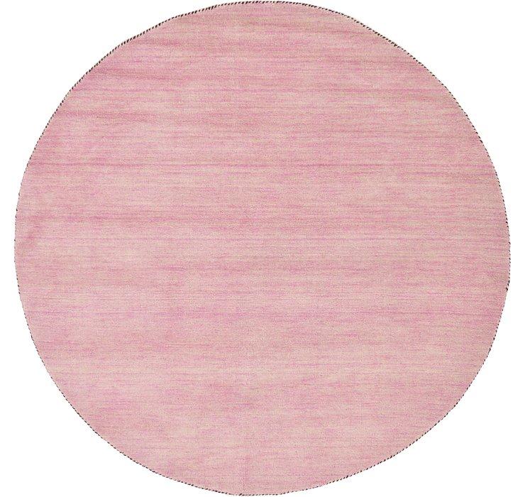 Pink Solid Gabbeh Round Rug
