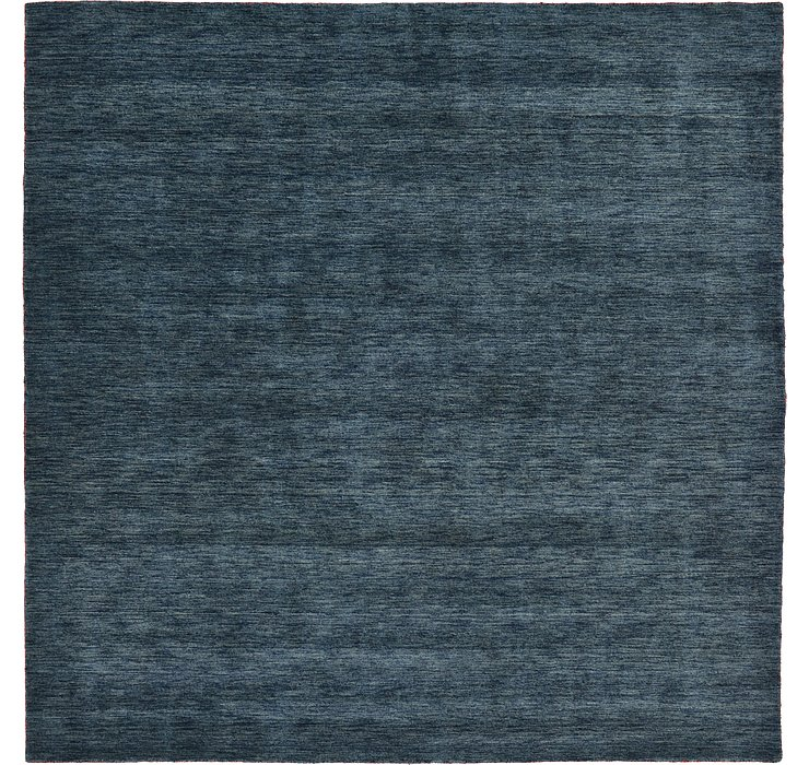 Navy Blue Solid Gabbeh Square Rug