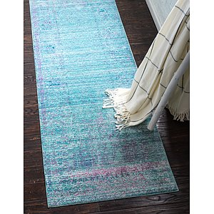 Link to 2' 7 x 9' 10 Aqua Runner Rug page