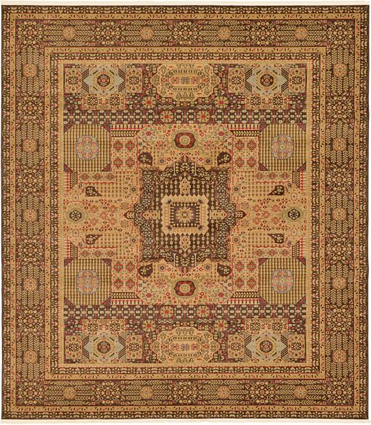 Brown 10 X 11 4 Mamluk Square Rug Area Rugs Esalerugs
