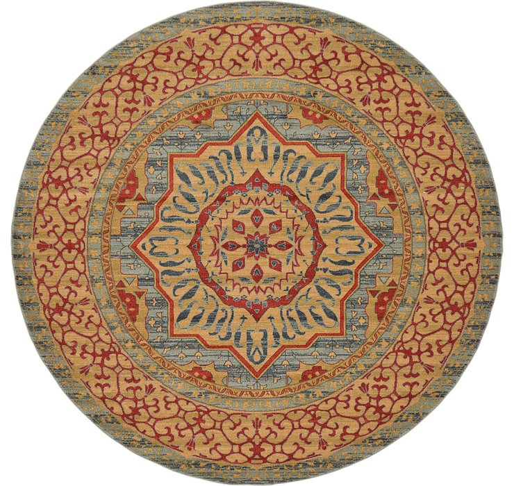 Light Blue Amina Round Rug