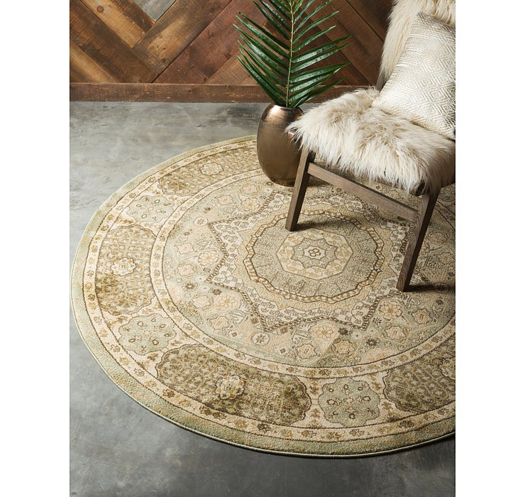 Light Green Amina Round Rug