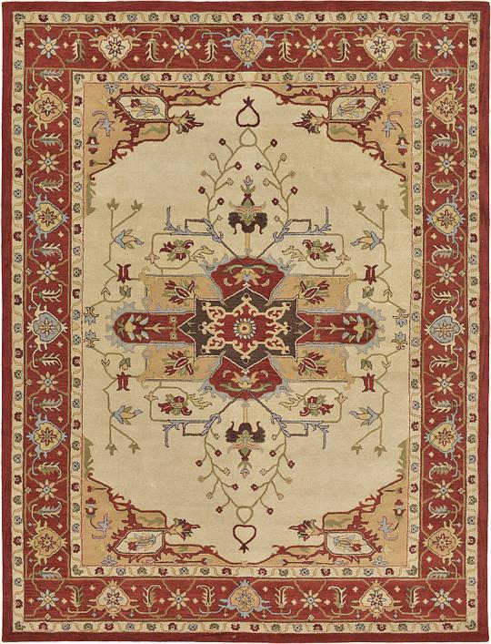 cream 11 39 10 x 15 39 9 heriz design rug area rugs esalerugs. Black Bedroom Furniture Sets. Home Design Ideas