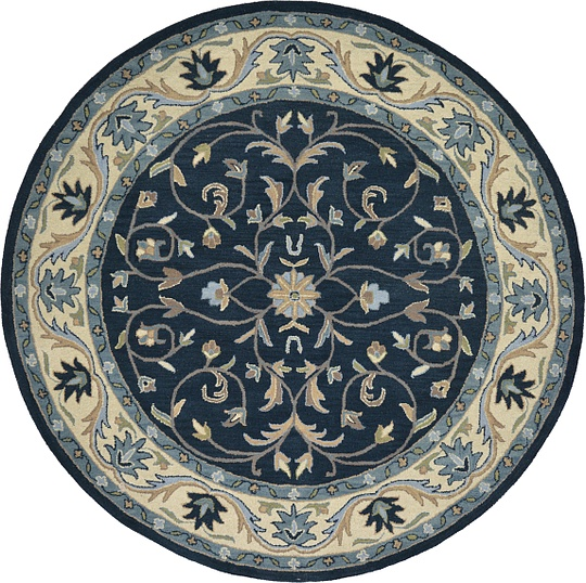 Navy Blue 7 10 X 7 10 Classic Agra Round Rug Area Rugs