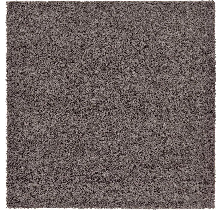 Graphite Gray Solid Shag Square Rug