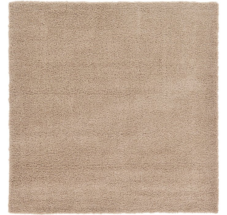 Taupe Solid Shag Square Rug