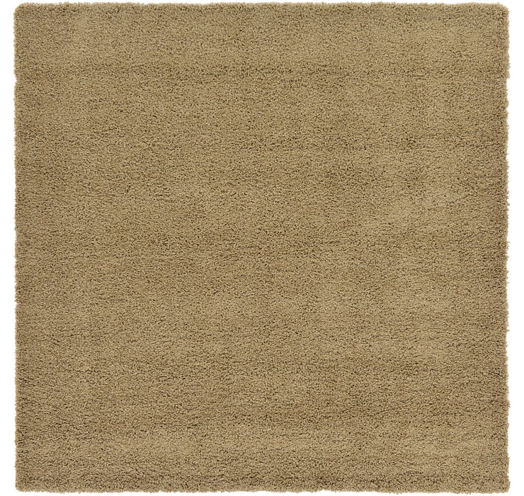 Sandy Brown Solid Shag Square Rug