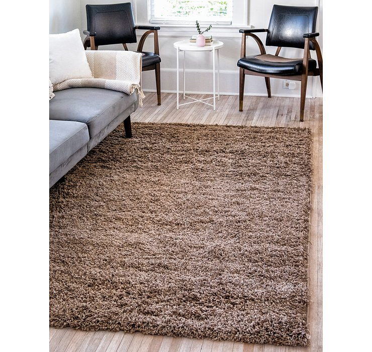 Sandy Brown Solid Shag Rug