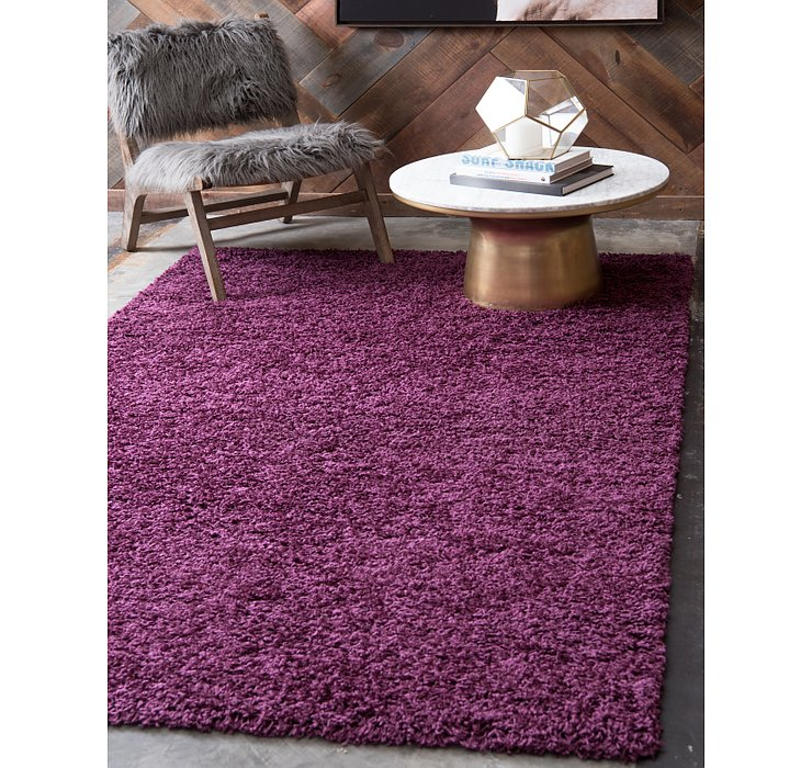 Eggplant Purple Solid Shag Rug