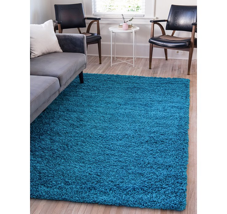 Turquoise Solid Shag Rug