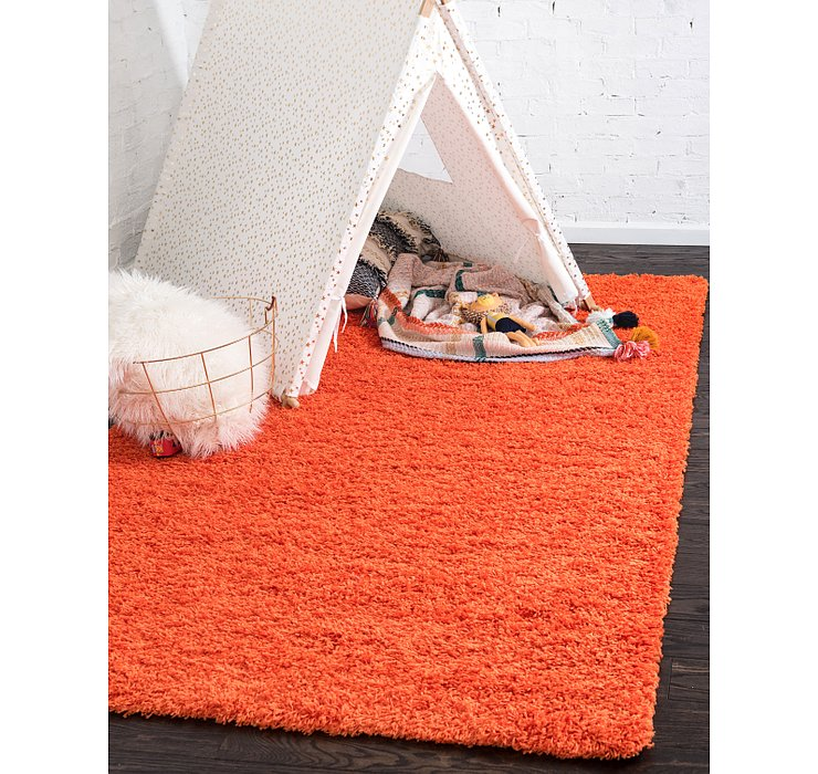 Tiger Orange Solid Shag Rug