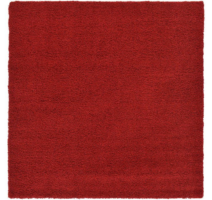 Cherry Red Solid Shag Square Rug