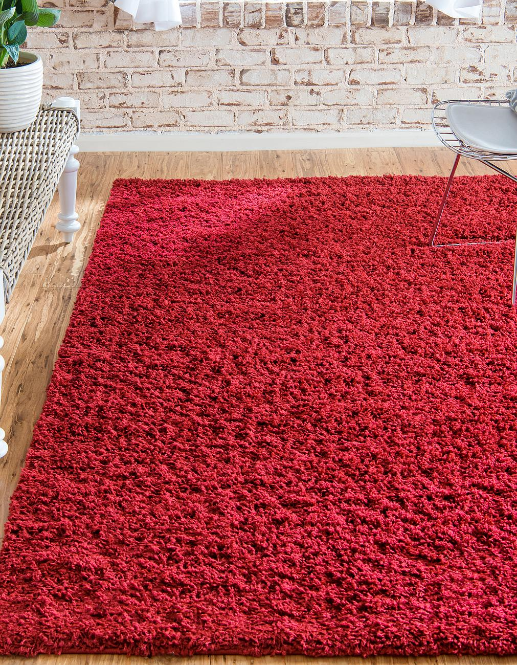 Modern large shag area rug contemporary small carpet red for Warm rugs