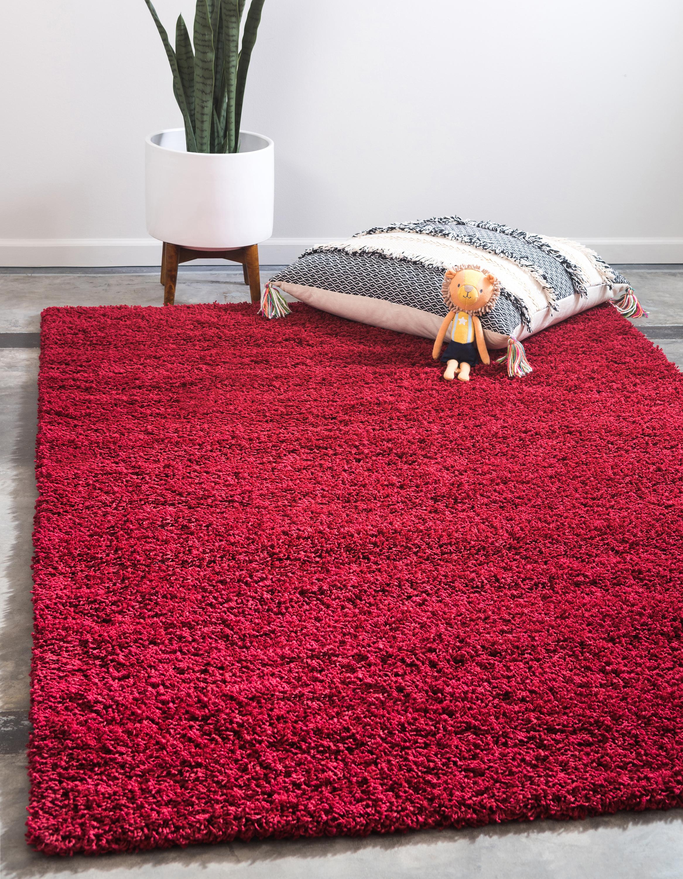 Cherry Red 4' X 6' Solid Shag Rug