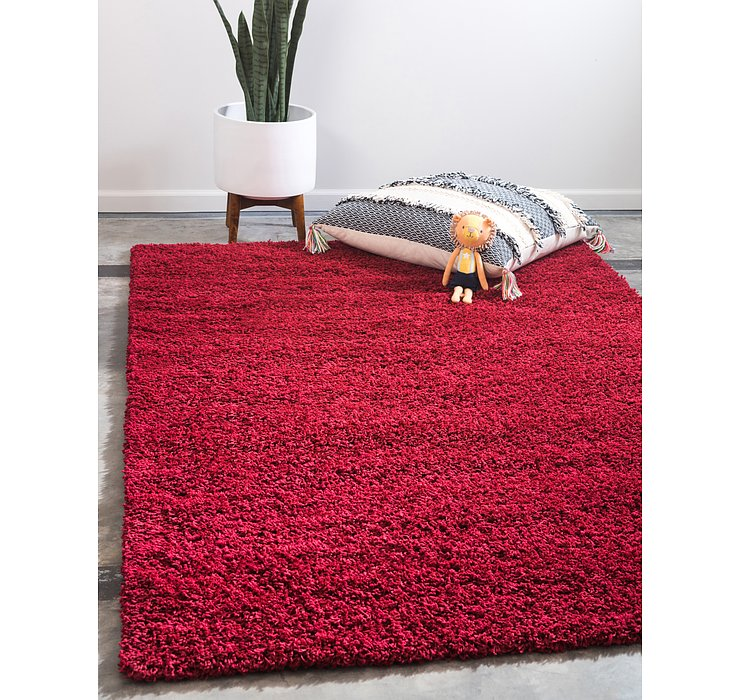 Cherry Red Solid Shag Rug
