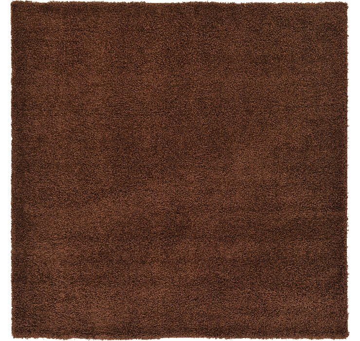 Chocolate Brown Solid Shag Square Rug