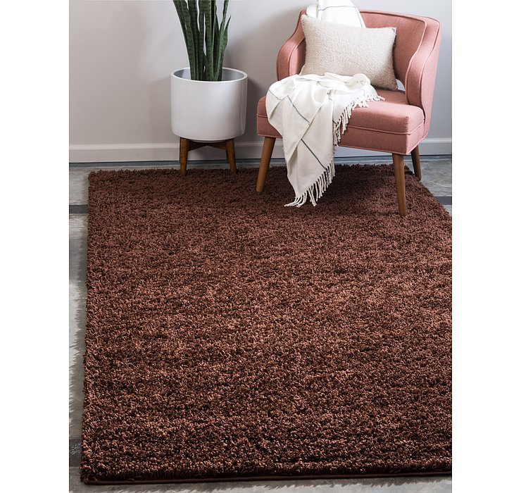 Chocolate Brown Solid Shag Rug