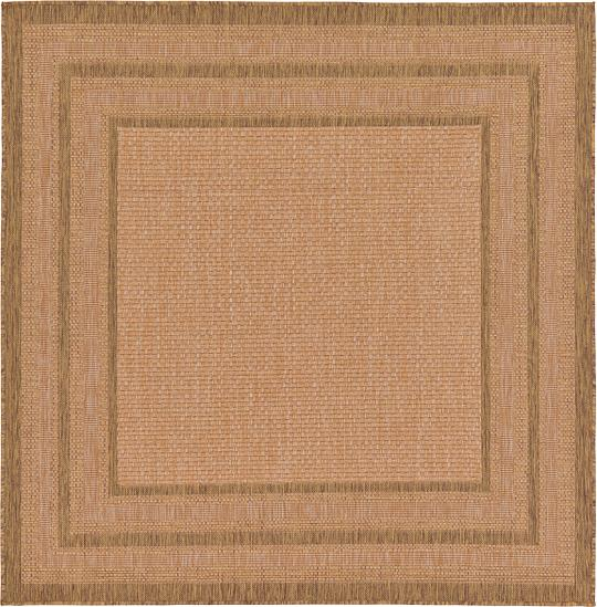 Indoor Outdoor Rugs Square: Light Brown 6' X 6' Outdoor Border Square Rug