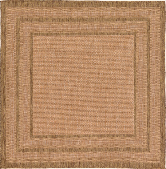 Light Brown 183cm X 183cm Outdoor Border Square Rug Area