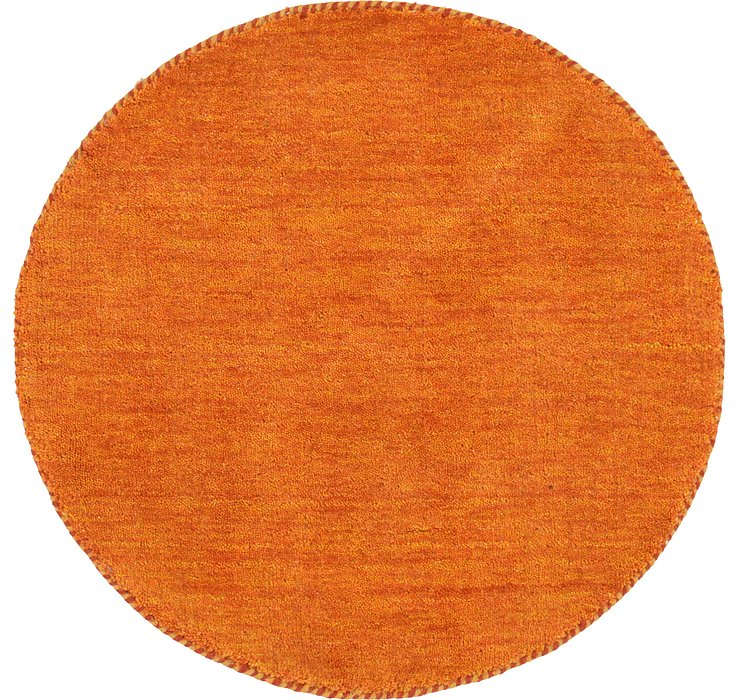 Orange Solid Gabbeh Round Rug