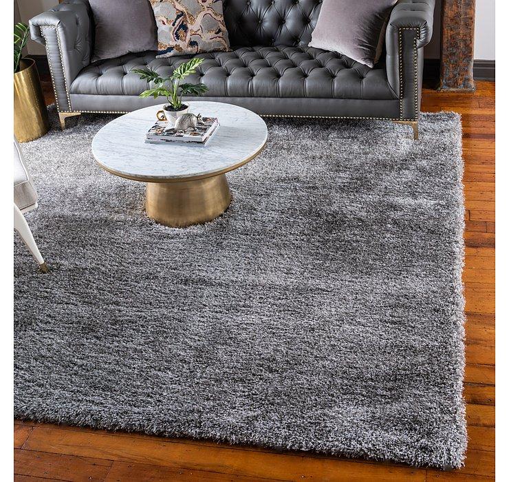 Gray Luxury Solid Shag Squar...