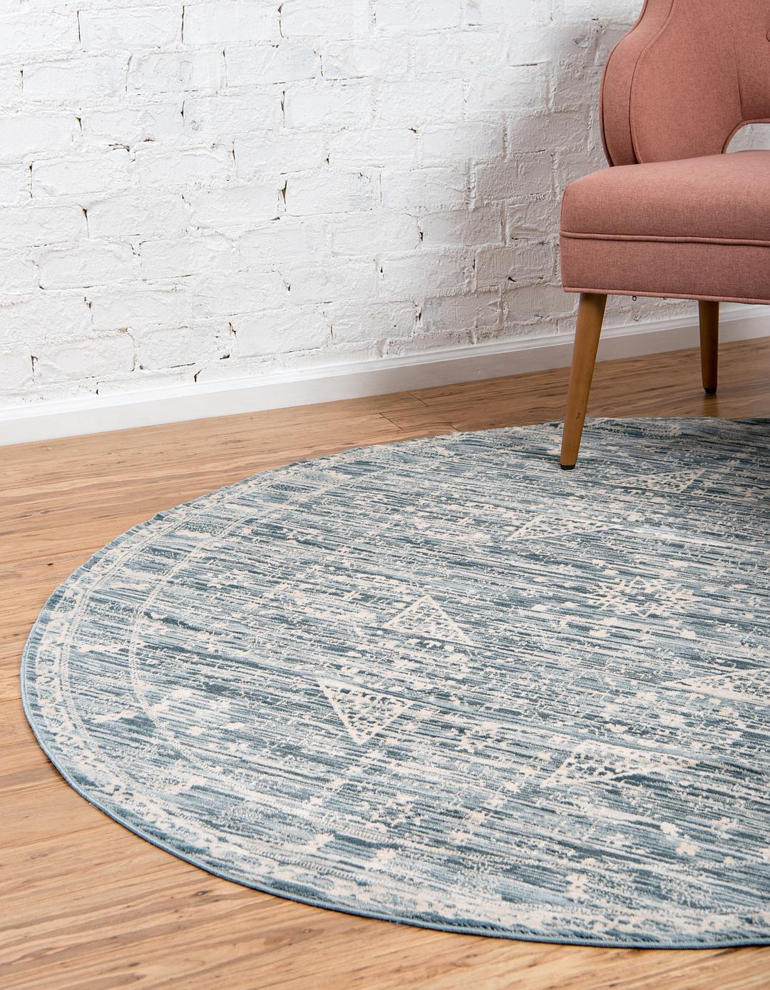 Blue 6 X 6 Restoration Round Rug Area Rugs Rugsca