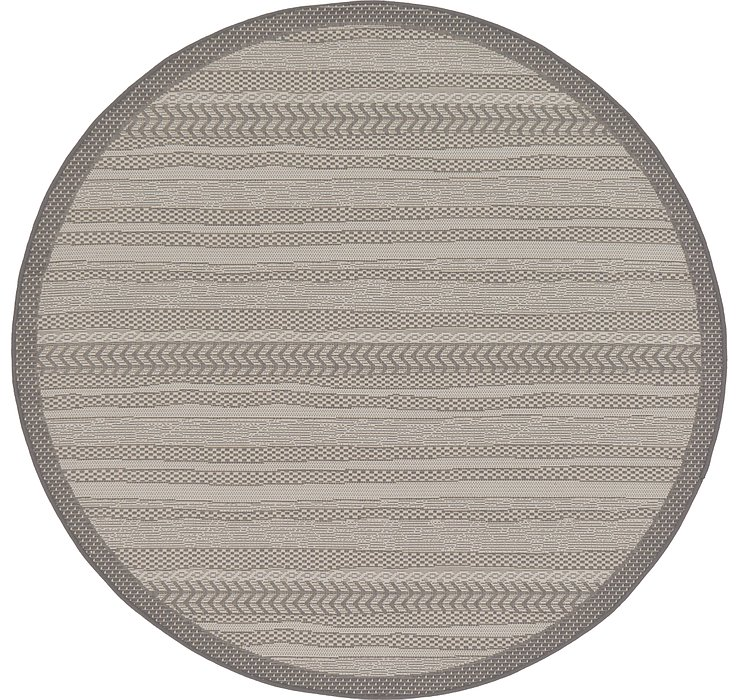 183cm x 183cm Outdoor Border Round Rug