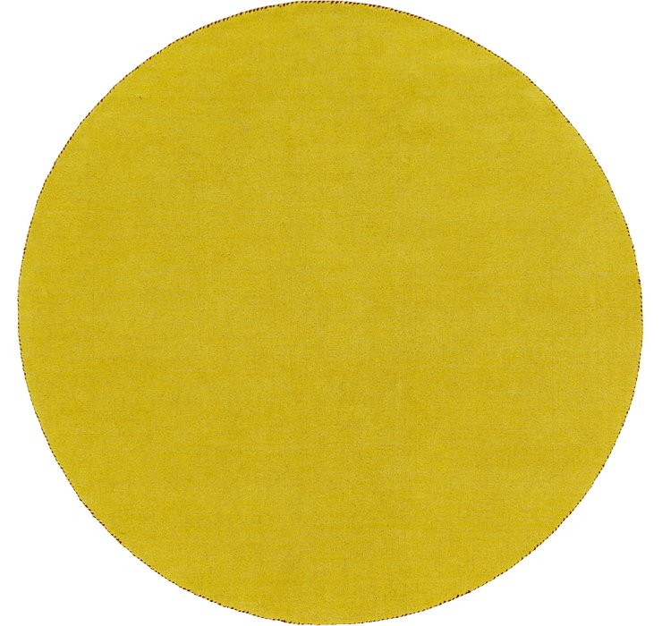 Yellow Solid Gabbeh Round Rug