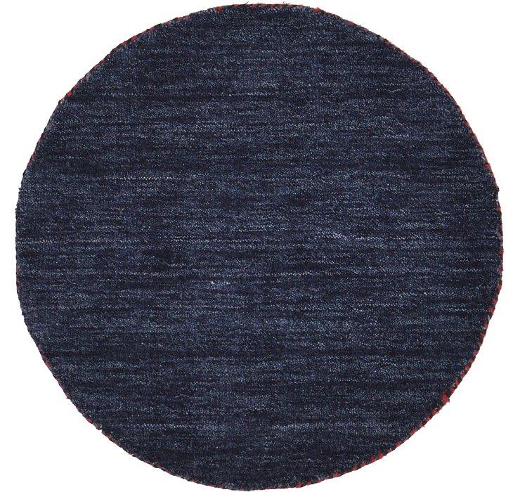 Navy Blue Solid Gabbeh Round Rug