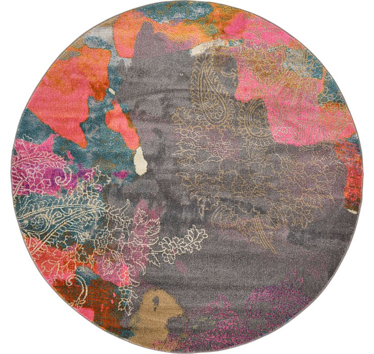 Gray Delilah Round Rug