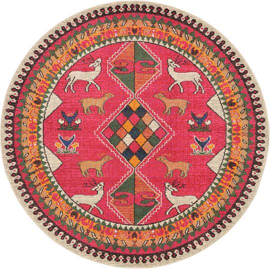 Native American Rugs In Santa Fe: Pink 6' X 6' Santa Fe Round Rug