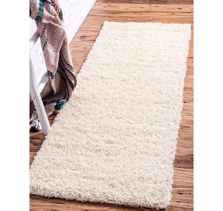 Pure Ivory Solid Shag Runner Rug