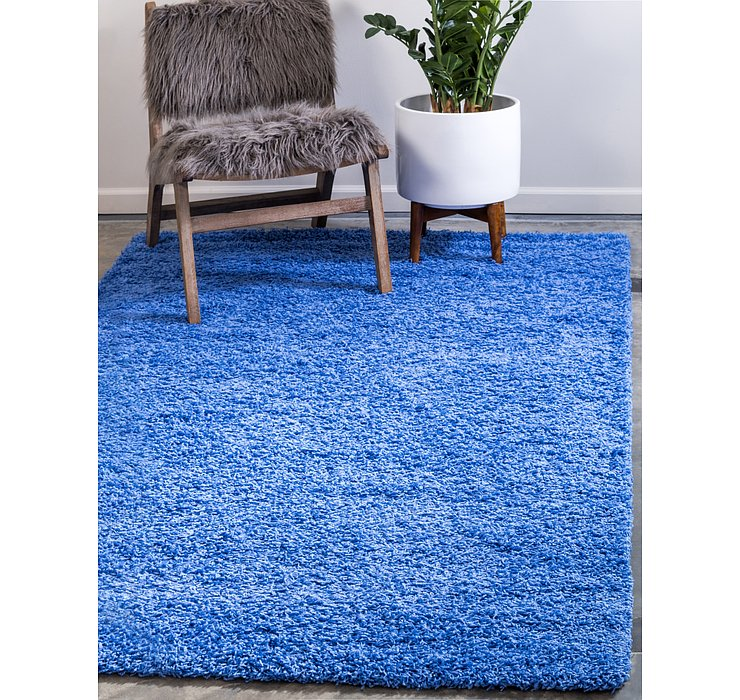 Periwinkle Blue Solid Shag Rug