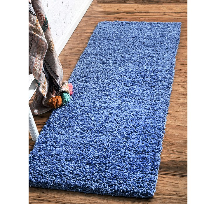 Periwinkle Blue Solid Shag Runner Rug