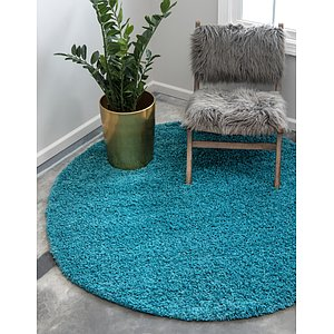 Unique Loom 6' x 6' Solid Shag Round Rug