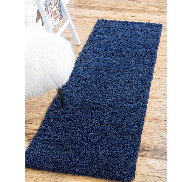 Sapphire Blue Solid Shag Runner Rug