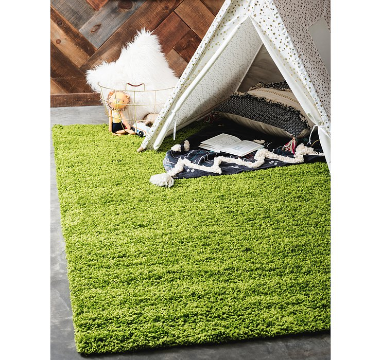 Grass Green Solid Shag Rug